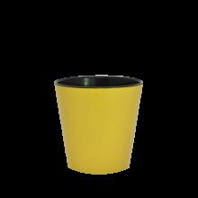 Саксия ДЕКО с двойно дъно 13,0х12,5 см.жълто/черно